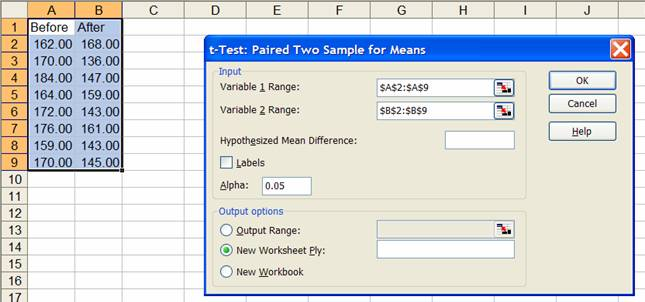 EXCEL Statistics tutorials paired t-test